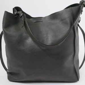 ALLSAINTS Dark Gray Leather Tote Bag